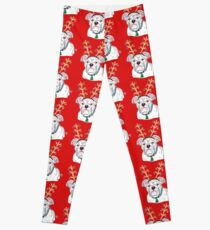 White Holiday Bulldog Leggings