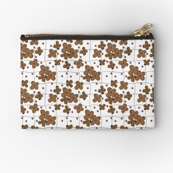 Brown Paper Flowers & Red Buttons Zipper Pouch