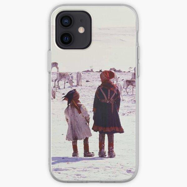 Girls watching reindeer iPhone Soft Case