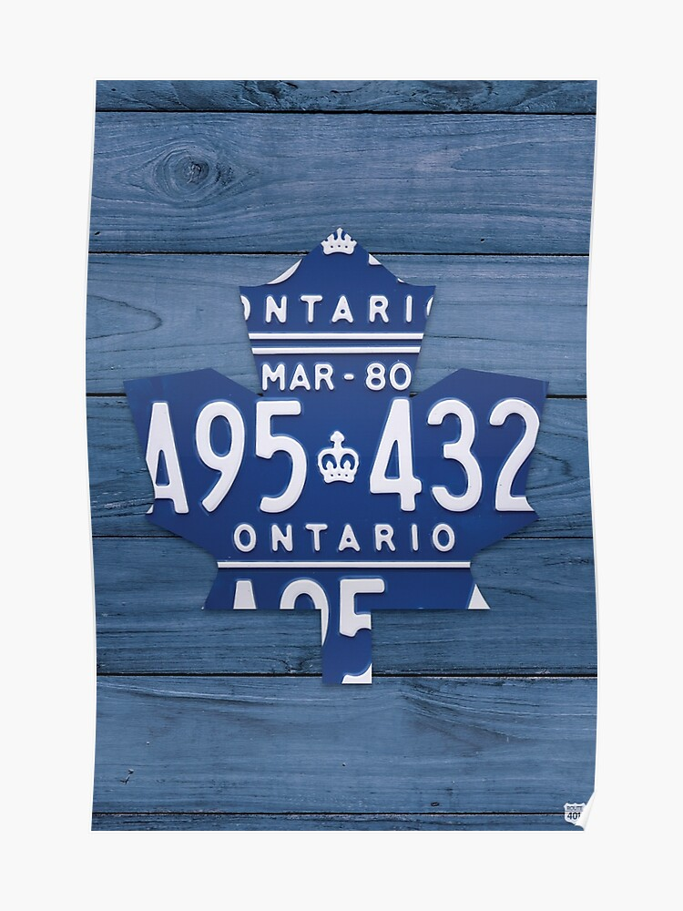 newest cf6d6 c9a9e Toronto Maple Leafs Vintage Art with License Plates - Blue | Poster