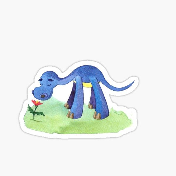 Little dinosaur sniffing a flower Sticker