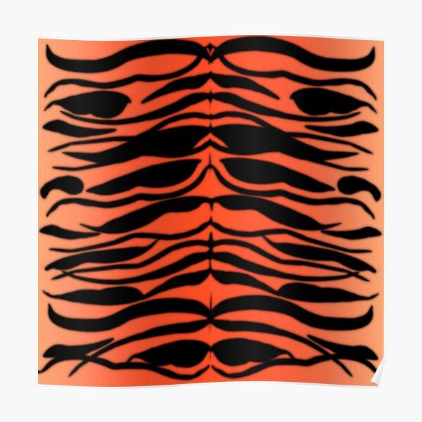 Tiger Skin Striped Pattern in Papaya Orange Poster