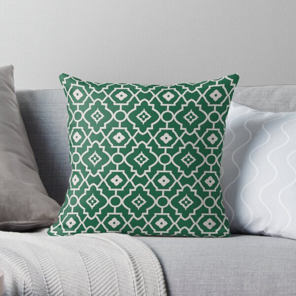 Green Geometric Andalusian Oriental Traditional Moroccan Style Throw Pillow