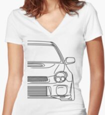 wrx sti outline - black Women's Fitted V-Neck T-Shirt