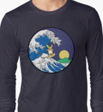 The Great Wave of Alola (Night) -Black Border Long Sleeve T-Shirt