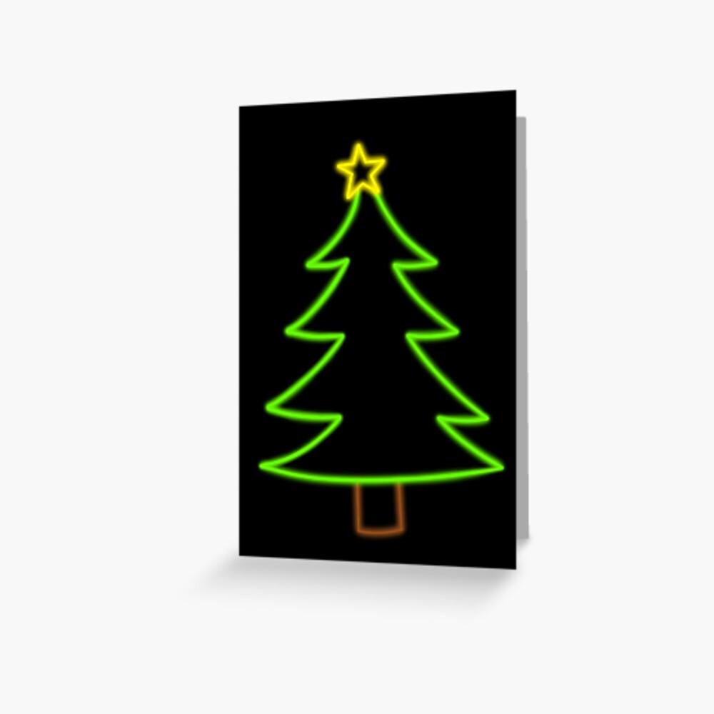 Neon Glow Simple Classic Christmas Tree Greeting Card