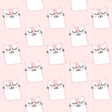 Lindo estampado de gatito rosa de peggieprints