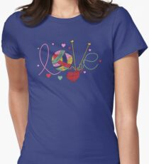 Love yarn knitting crocheting Womens Fitted T-Shirt