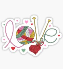 Love yarn knitting crocheting Sticker