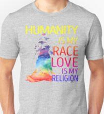 Yoga zen humanity is my race love is my religion Unisex T-Shirt