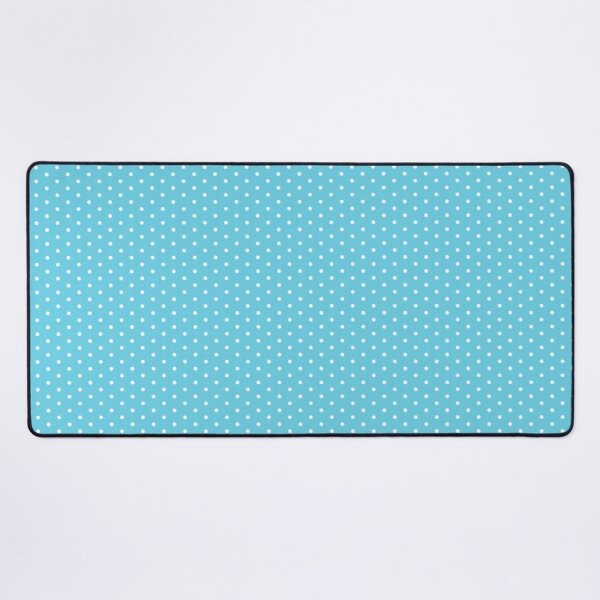 Blue Background With White Polka Dots Desk Mat