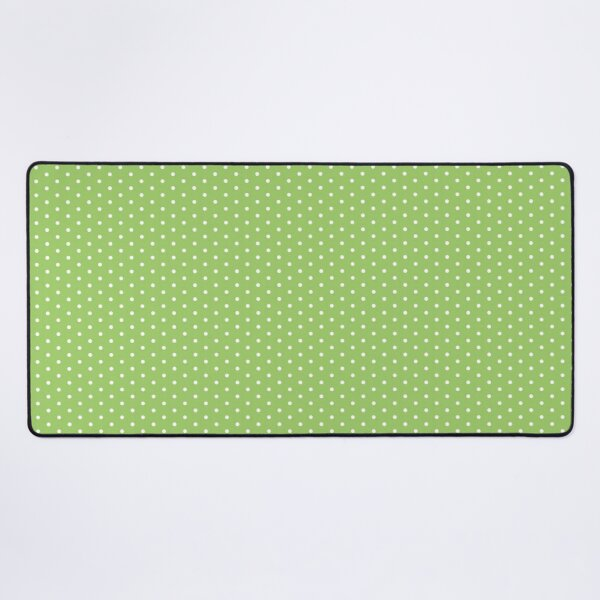 Green Background With White Polka Dots Desk Mat