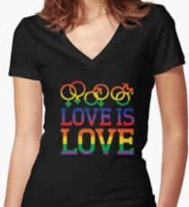 Love Is Love Rainbow t-shirt - Gay Lesbian Pride Shirts Women's Fitted V-Neck T-Shirt