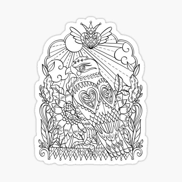 Hawk black line drawing Sticker