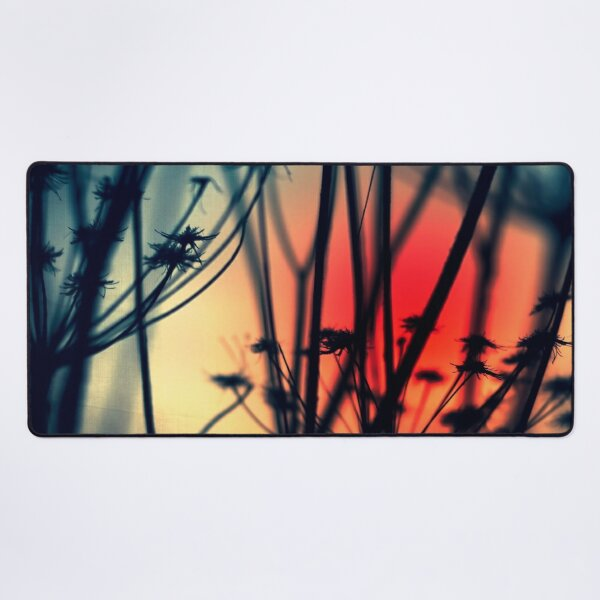 Shapes of Decay - Silhouettes of dry Weeds against colourful lights Desk Mat
