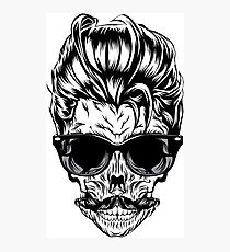 Hipster skull with sunglasses Photographic Print
