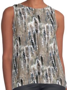 Faded Cattails Nature Pattern Contrast Tank