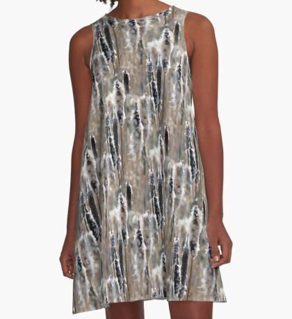 Faded Cattails Nature Pattern A-Line Dress