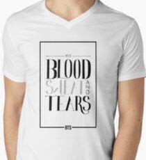 Blood, Sweat & Tears von BTS (방탄 소년단) Typografie T-Shirt mit V-Ausschnitt