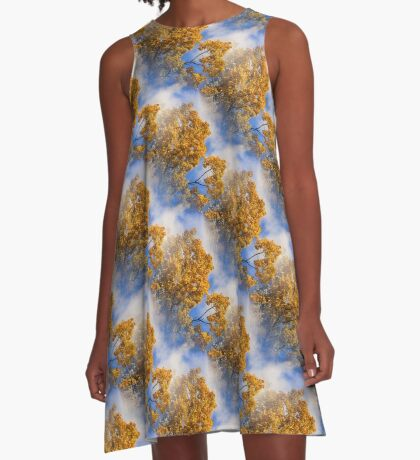 Blue Sky Golden Leaves Nature Pattern A-Line Dress