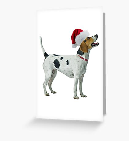 Foxhound Santa Claus Merry Christmas Greeting Card