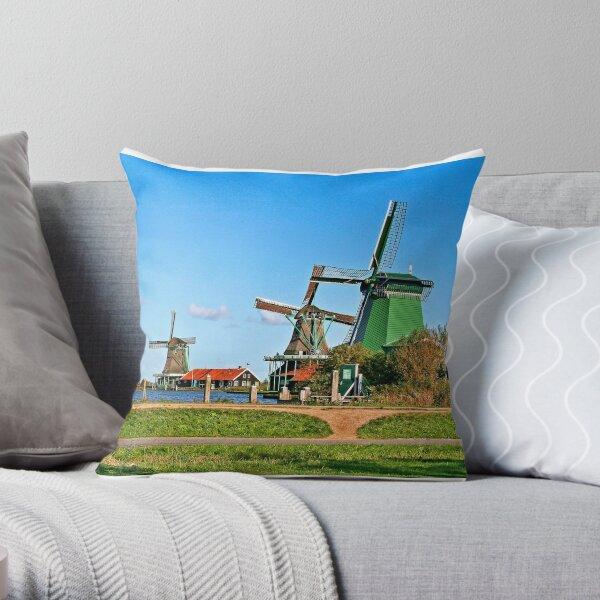 Three Windmills in Holland Throw Pillow