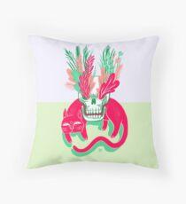 Cat Skull Garden Throw Pillow