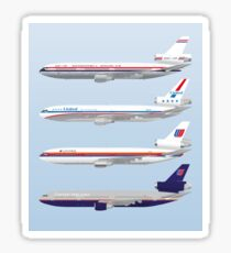 Wings In Uniform - DC-10 - United Airlines - Through The Ages Sticker