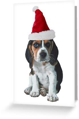 Beagle Puppy Santa Claus Merry Christmas by CafePretzel