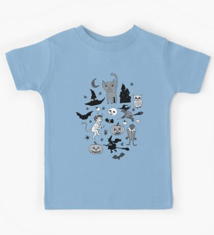 Retro Halloween - blue and grey - Halloween pattern by Cecca Designs Kids Clothes