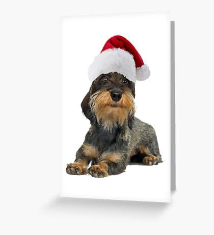 Dachshund Santa Claus Merry Christmas Greeting Card