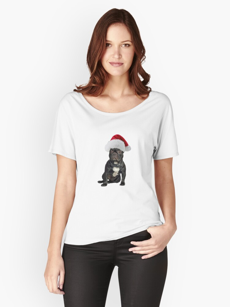 French Bulldog Santa Claus Merry Christmas Women's Relaxed Fit T-Shirt Front
