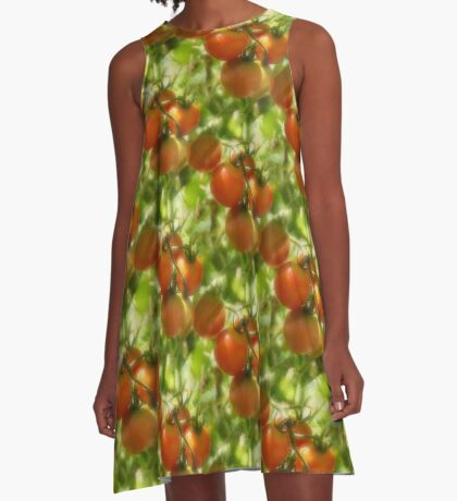 Garden Cherry Tomatoes Nature Pattern A-Line Dress