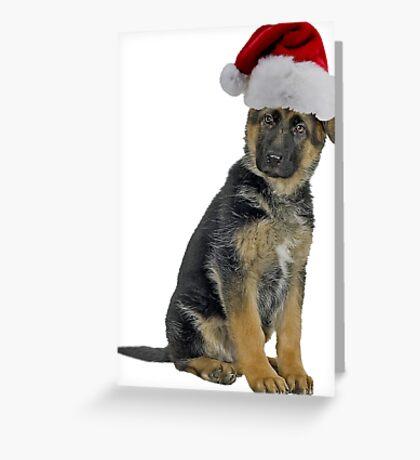 German Shepherd Puppy Santa Claus Merry Christmas Greeting Card