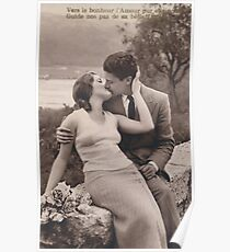 Vintage romance couple kissing Poster