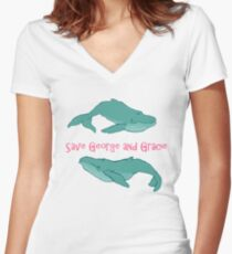 Star Trek: Save George and Gracie Women's Fitted V-Neck T-Shirt