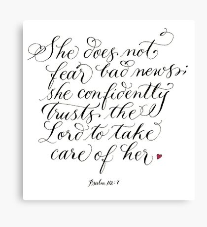 Trust the Lord inspirational verse for women Canvas Print