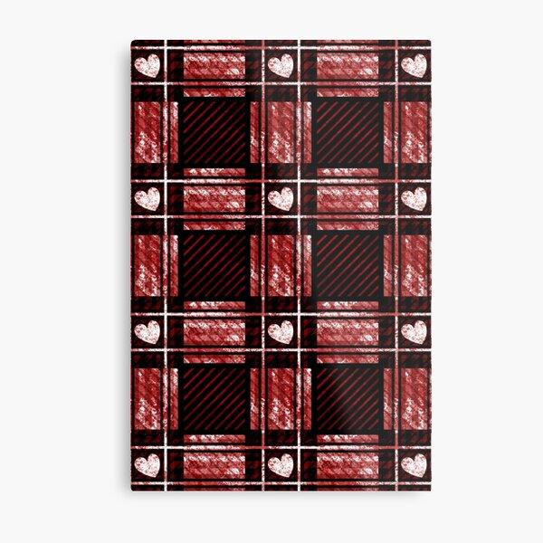 White Heart Red Plaid Pattern Metal Print