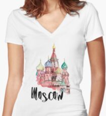 Moscow Women's Fitted V-Neck T-Shirt