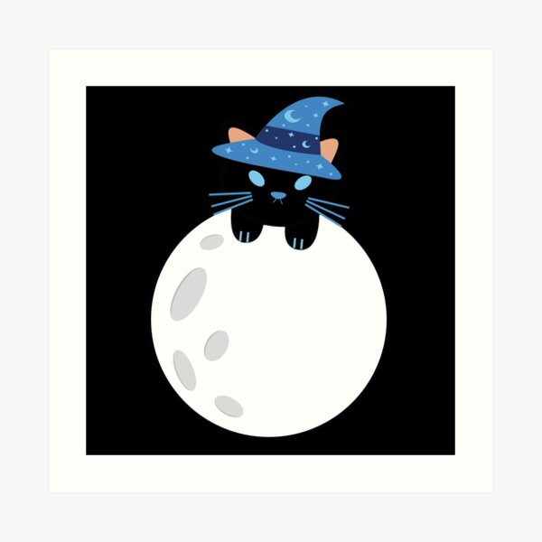 The Witch Cat, Luna | On Top of the Moon Art Print