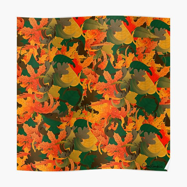 Falling Leaves Pattern for Autumn Poster