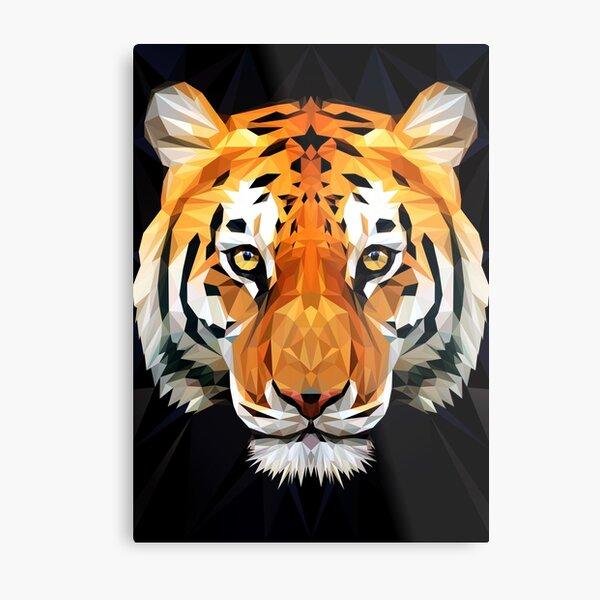 Tiger Low Poly Metal Print