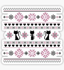 Cat Knit Pattern Pink Sticker