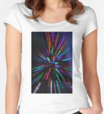 blue crazy christmas lights Women's Fitted Scoop T-Shirt