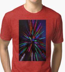 blue crazy christmas lights Tri-blend T-Shirt