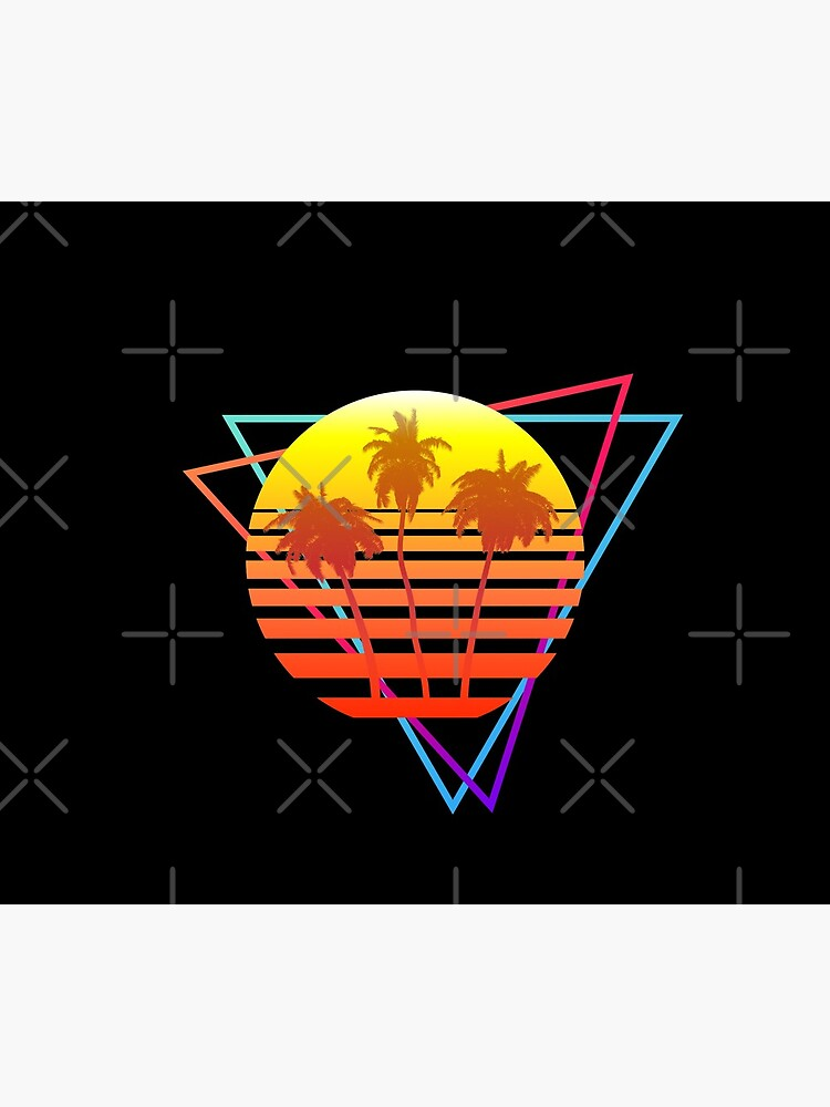 Synthwave Sun (with palm trees and triangles) by GaiaDC
