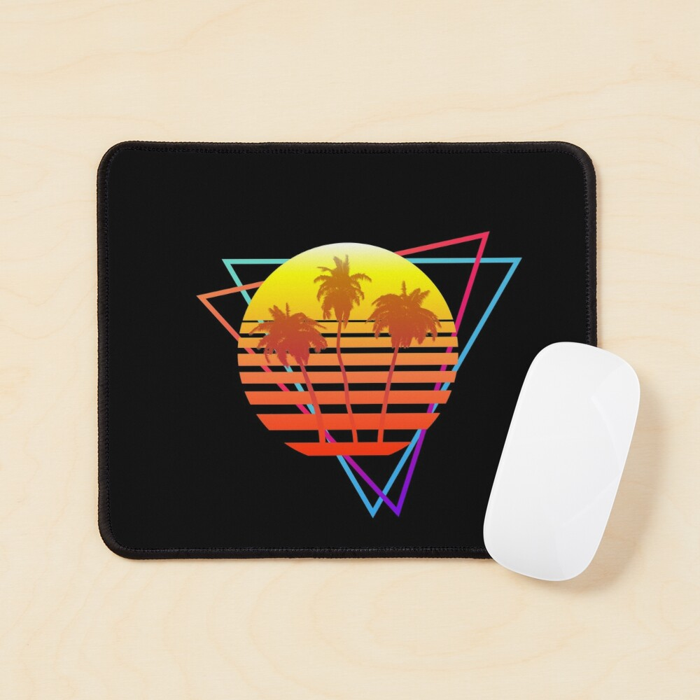 Synthwave Sun (with palm trees and triangles) Mouse Pad