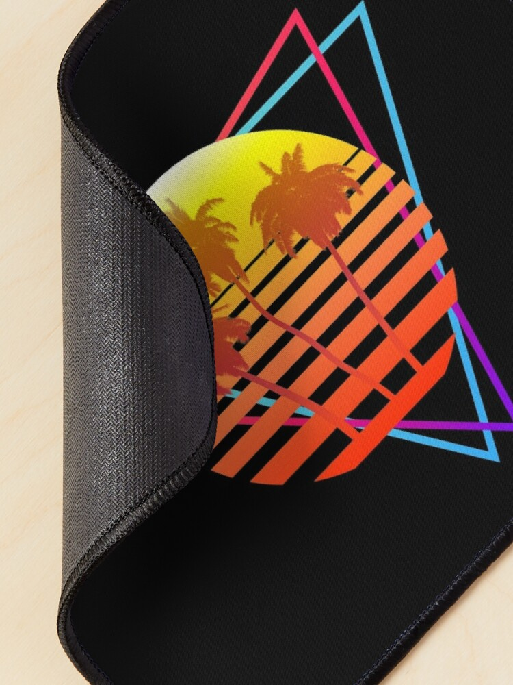 Alternate view of Synthwave Sun (with palm trees and triangles) Mouse Pad