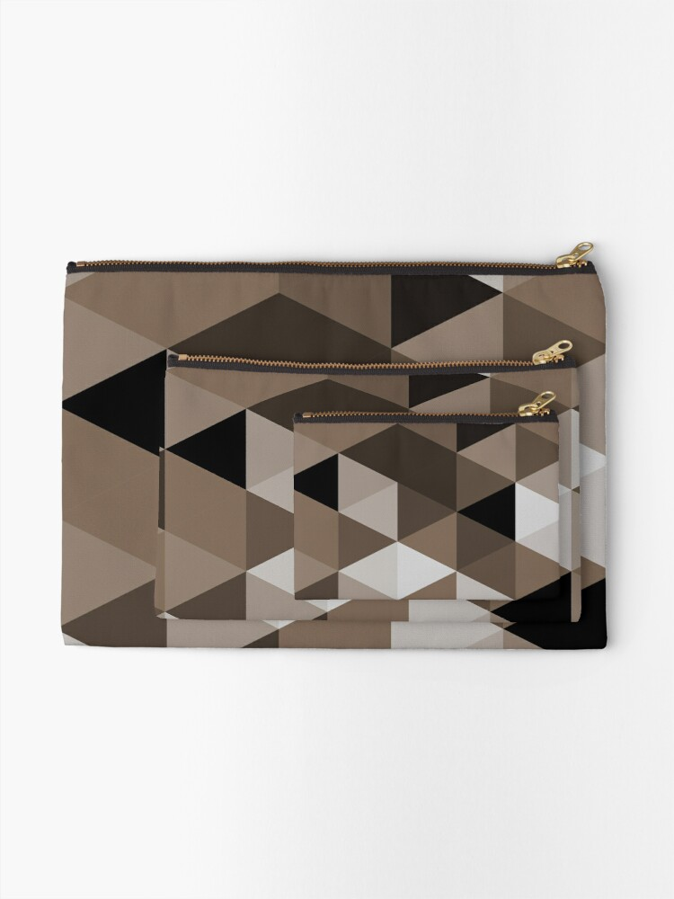Alternate view of Sepia triangles pattern Zipper Pouch