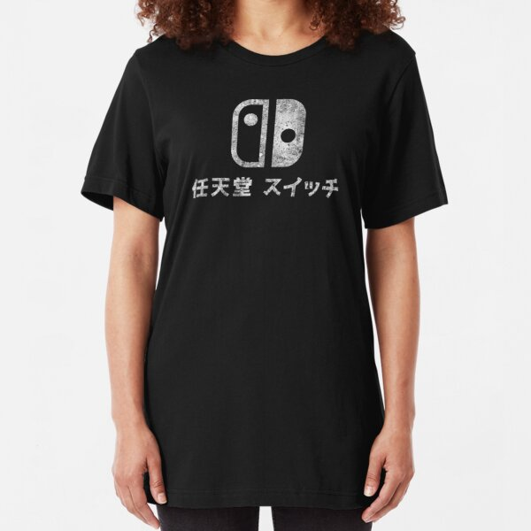 Nintendo Switch - Japanese Logo - Black Dirty Slim Fit T-Shirt
